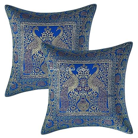 """Decorative 17/"""" Pillow Cushion Cover Jacquard Brocade Silk Boho Home Sofa Throw"""