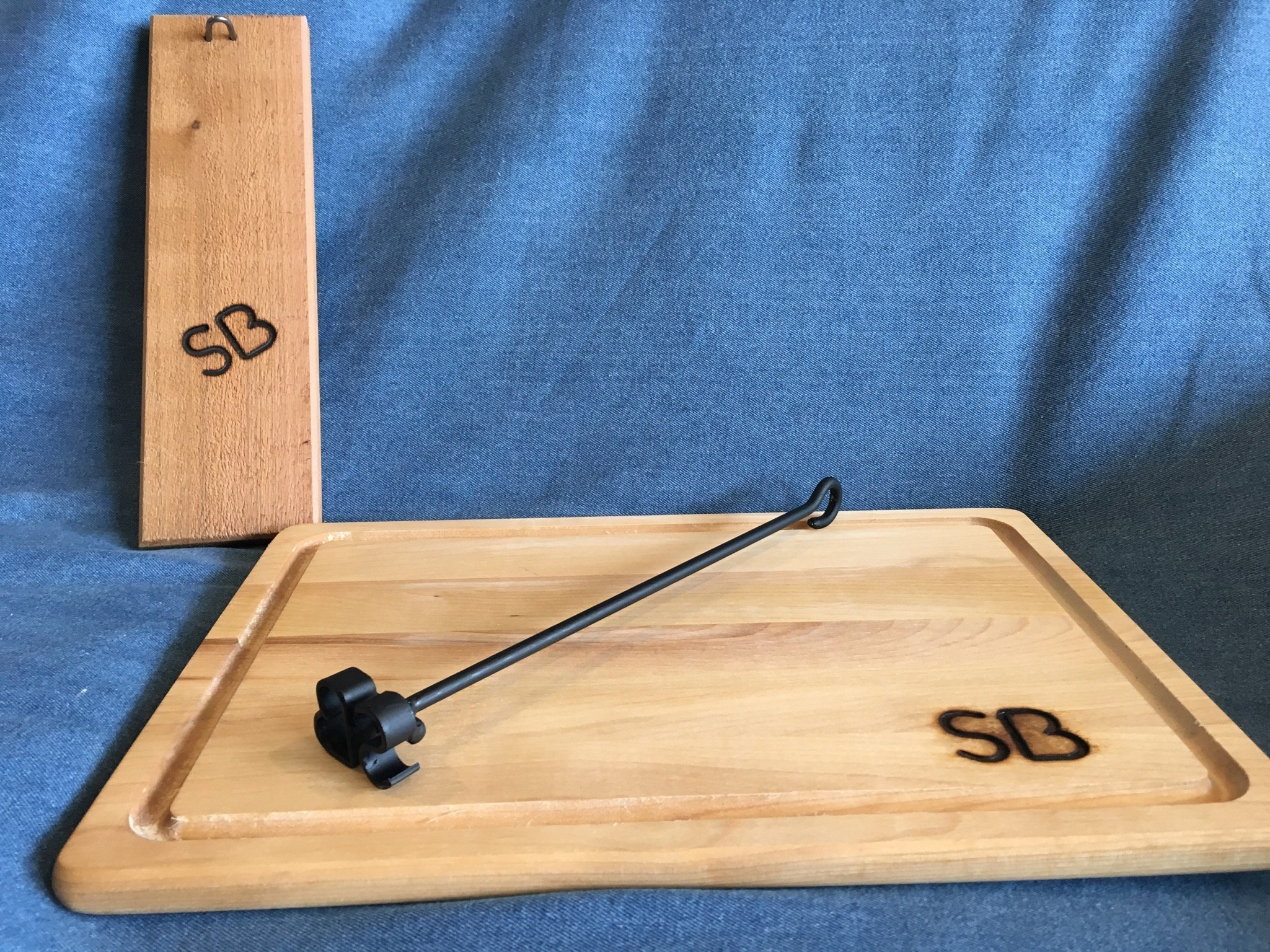 Personalized Miniature Branding Iron with Cedar Display Board and Branded Carving Board by Sloan Brands by Sloan Brands