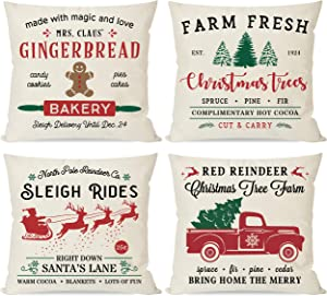 PANDICORN Farmhouse Christmas Pillows Covers 18x18 Set of 4 for Christmas Decorations, Red and Green Christmas Trees Truck, Christmas Decor Throw Pillow Cases for Home Couch Outdoor Indoor