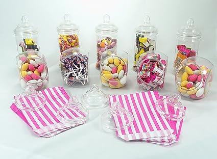 Paquete de fiesta Sweet Shop de Britten & James®. 10 frascos de plástico cristalino con tapas de rosca estilo victoriano. Ideal para mesas de boda, ...