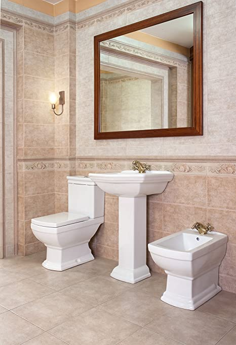 Wash Basin Ceramic Retro With Pillar Stand Wc Retro With