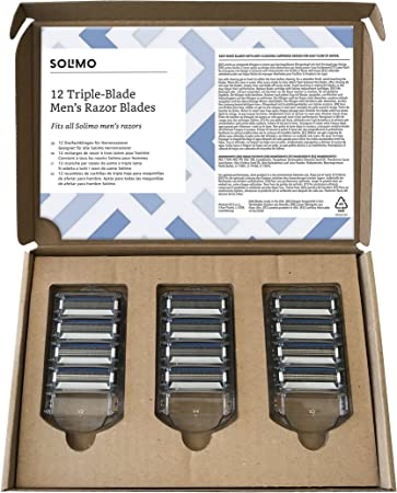 Marca Amazon- Solimo Recambios de cuchillas de triple hoja para maquinillas de afeitar para hombre (12 piezas)