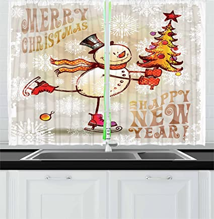 christmas kitchen curtains by ambesonne skating happy snowman with christmas tree cheerful hand drawn ornate - Christmas Kitchen Curtains