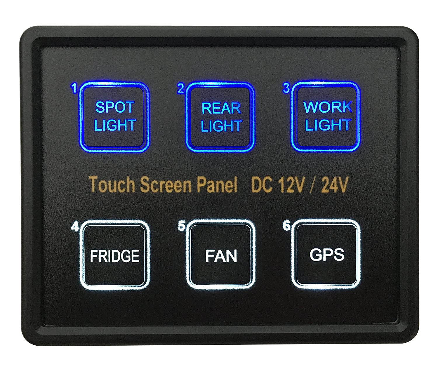91sid25GWzL._SL1500_ bandc 12v 24v 6 gang blue led capacitive sense touch control panel m998 fuse box at aneh.co