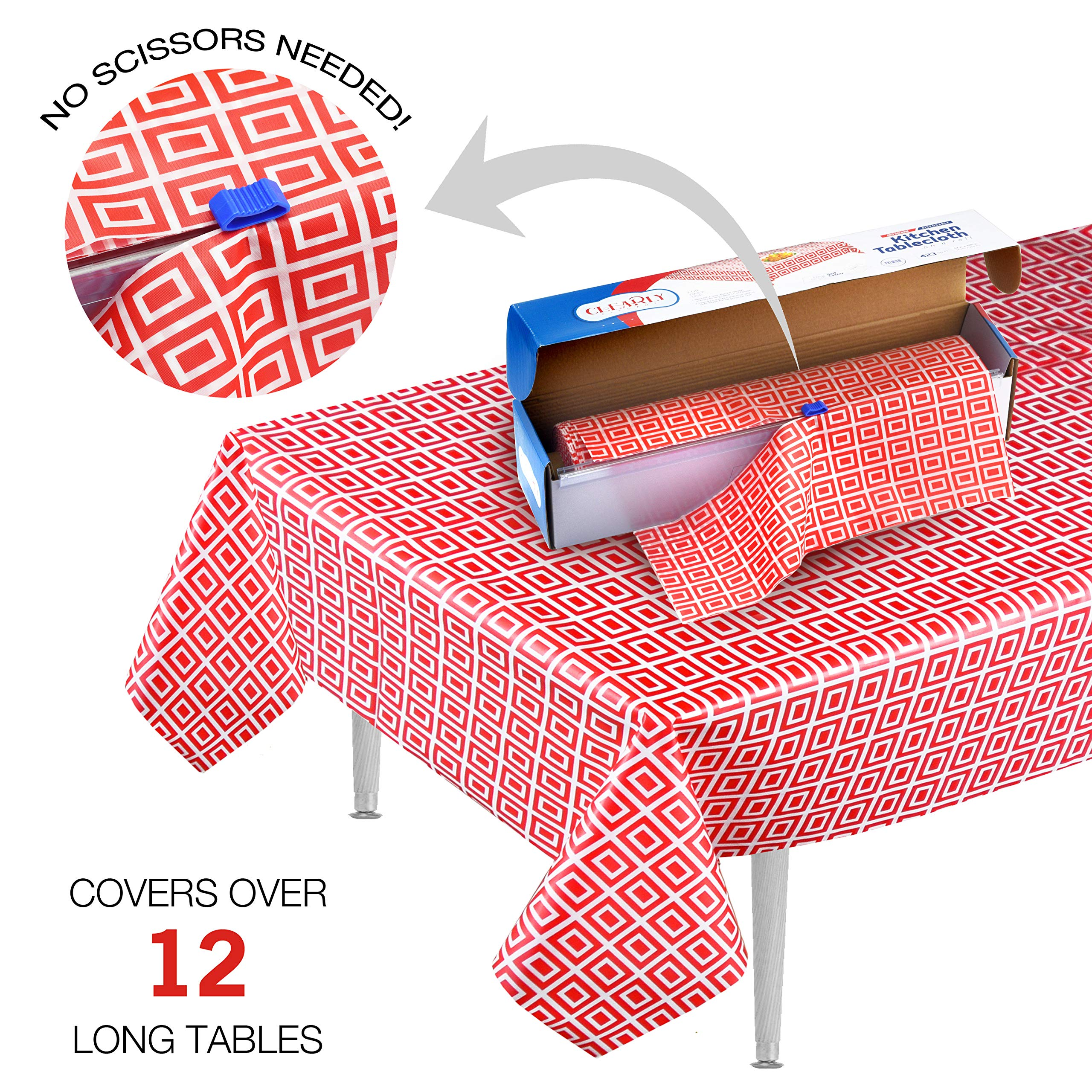 Clearly Elegant Picnic / Party Plastic Disposable Tablecloth Roll Red ,Picnic Colored Table Covers On a Roll with Self Cutter Box,Cut Tablecloth to Your Own Table Size,Indoor/Out Door by Clearly Elegant