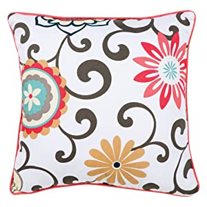 Trend Lab Waverly Baby Pom Pom Play Decorative Pillow, Coral/Teal/Yellow