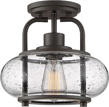 Quoizel Trg1710oz Trilogy Glass Lantern Semi Flush Mount Ceiling Lighting 1 Light 60 Watt Old Bronze 9 H X 10 W Amazon Com