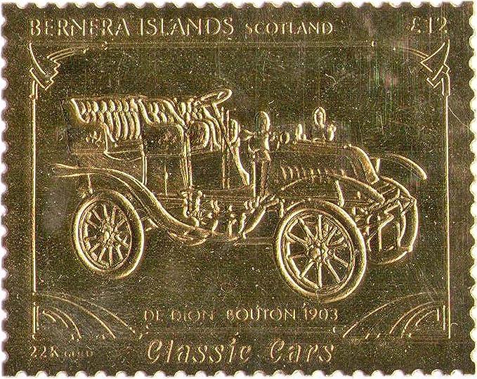 Stampbank Islas Bernera Escocia : Classic Cars - De Rion Bouton sello 1903 / hoja de oro / perforado . Valor nominal £ 12 / 1987 / Bernera / MNH: Amazon.es: Juguetes y juegos
