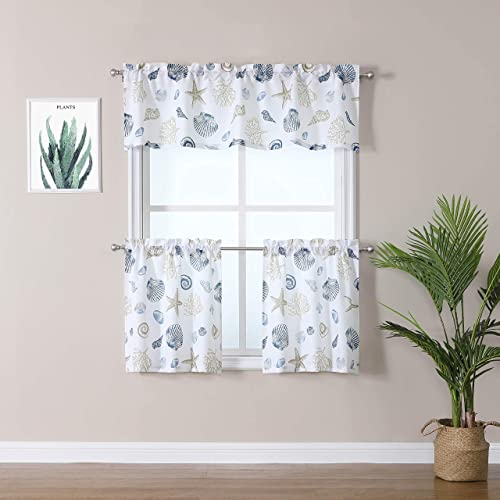 ZHUFUREN 3 Pieces Kitchen Curtains Set Starfish Kitchen Cafe Tier Curtains and Valance Geometric Printed Print Rod Pocket Small Window Curtain for Bathroom 58 x15 58 x36 , White