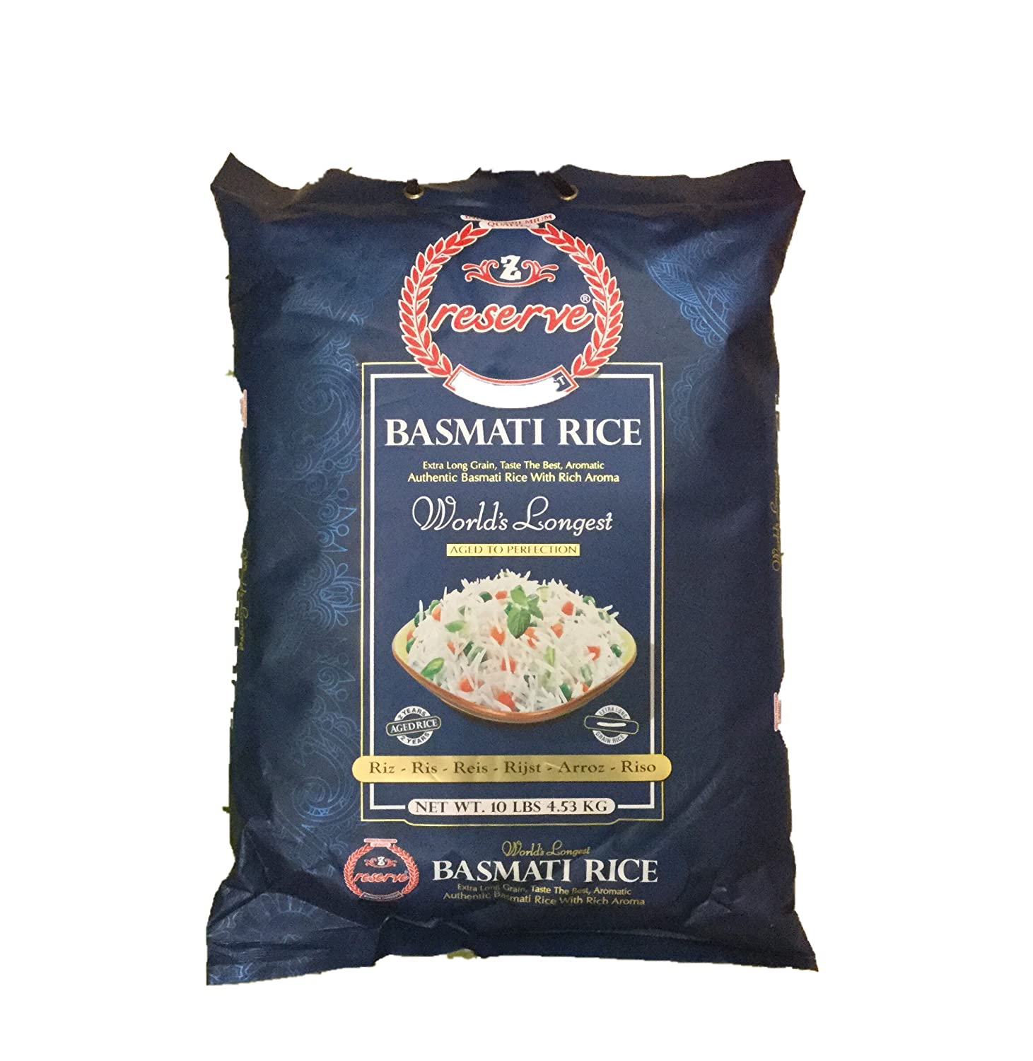 Zafarani Reserve GMO Free Extra Long Grain, Taste the Best, Aromatic Authentic Basmati Rice with Rich Aroma - 10lbs., 4.53kg