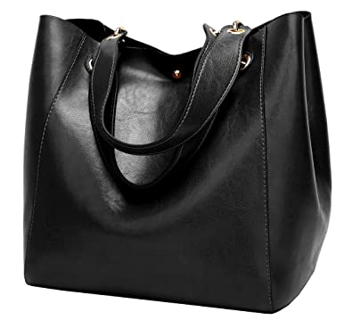 bd0276a8ac8a Amazon.com  Molodo Women PU Leather Big Shoulder Bag Purse Handbag Tote Bags  Black  Shoes