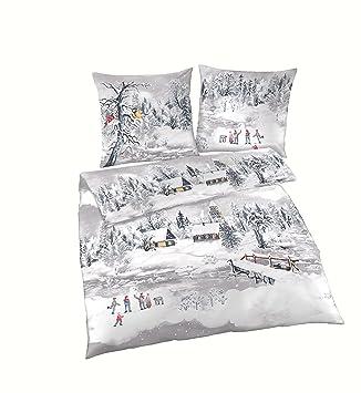 Träumschön Biber Bettwäsche 135x200 2tlg Kuschelige Bettwäsche Schneelandschaft Bettwäsche Aus 100 Baumwolle Ideal Für Den Winter