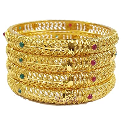 46f119b82ab6a YouBella Fashion Jewellery Traditional Gold Plated Bracelet Bangles Set of  4 for Girls and Women