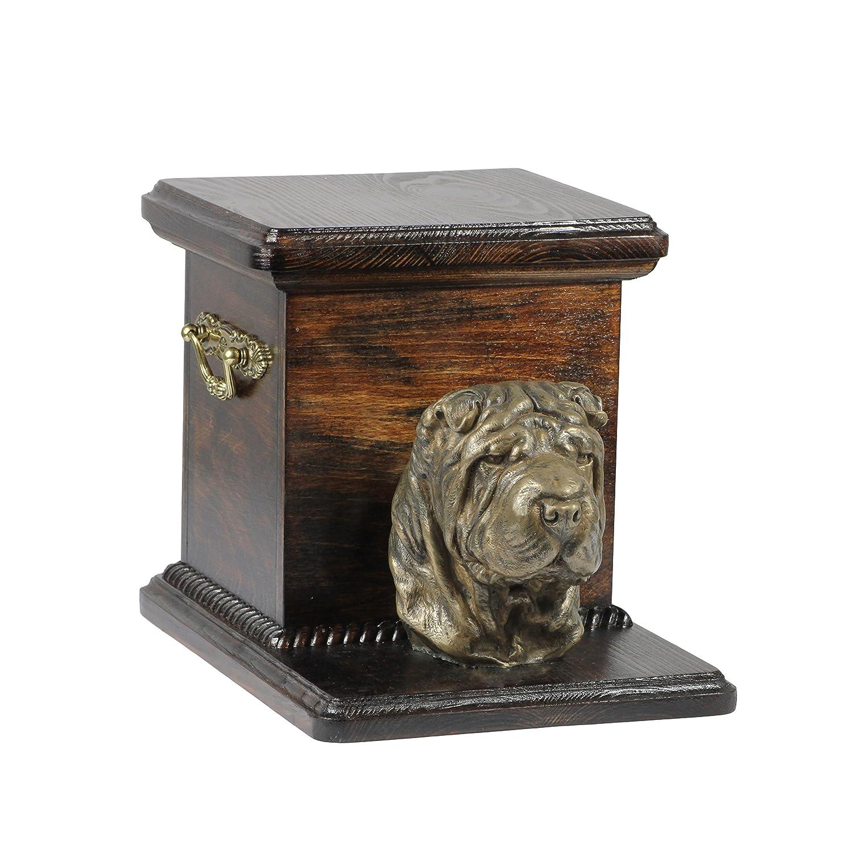 Shar Pei, Memorial, Urne für Hunde Asche, mit Hund Statue, ArtDog