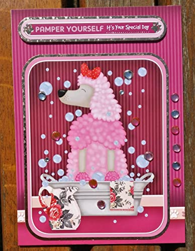 Handmade Birthday Card Poodle Dog With Personalised Braille Message