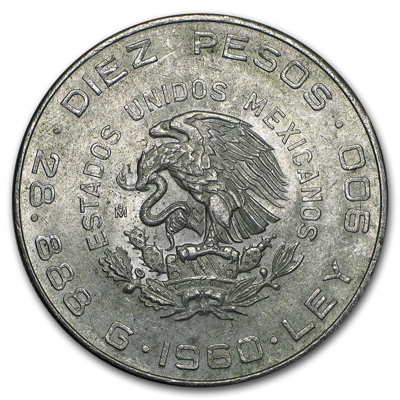1960 MX Mexico Silver 10 Pesos 150th Ann XF-AU Silver Extremely Fine ASW .8357 oz