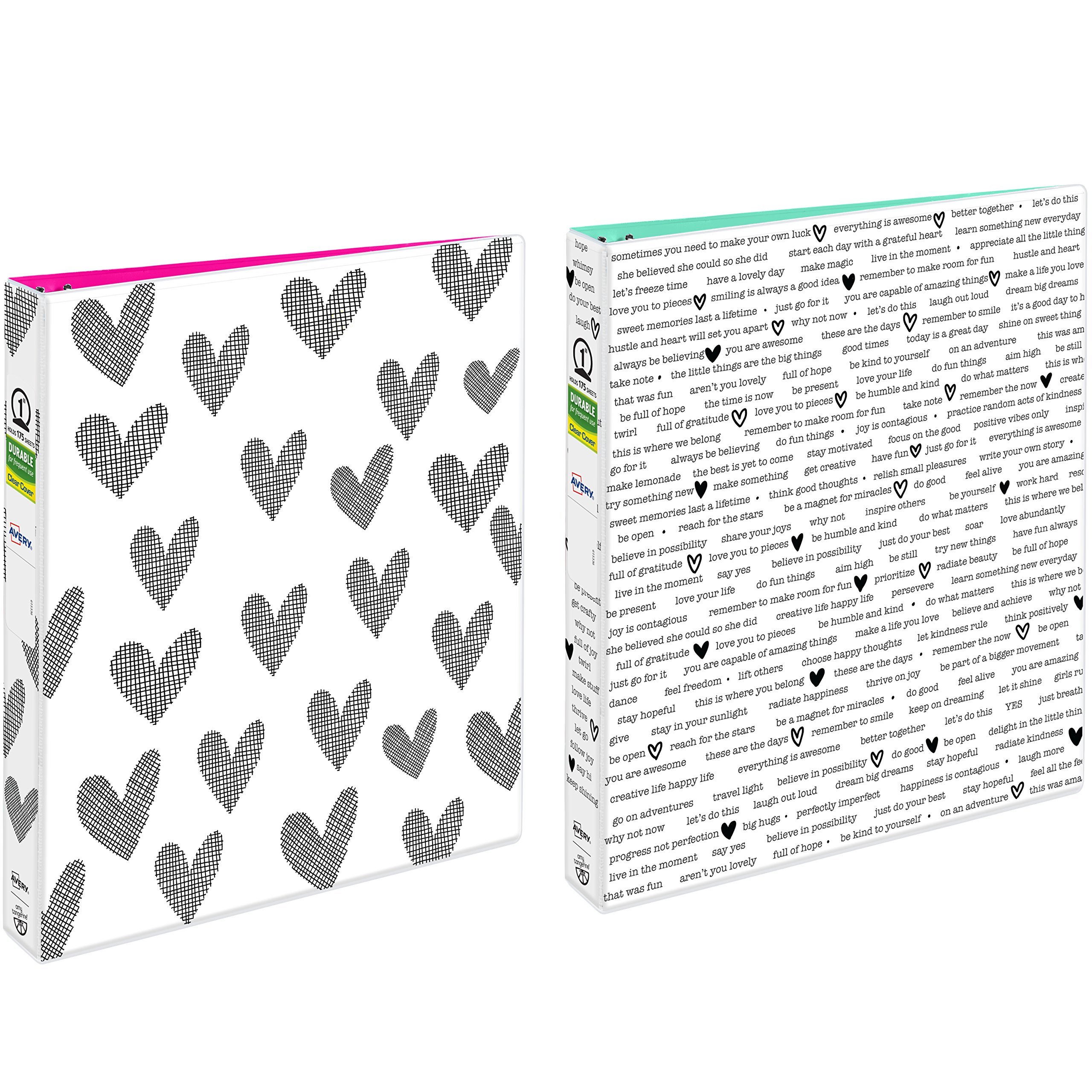 "Avery + Amy Tangerine Designer Binders, 1"" Round Rings, 175-Sheet Capacity, Hearts & Inspiration, 2 Binders (26852)"