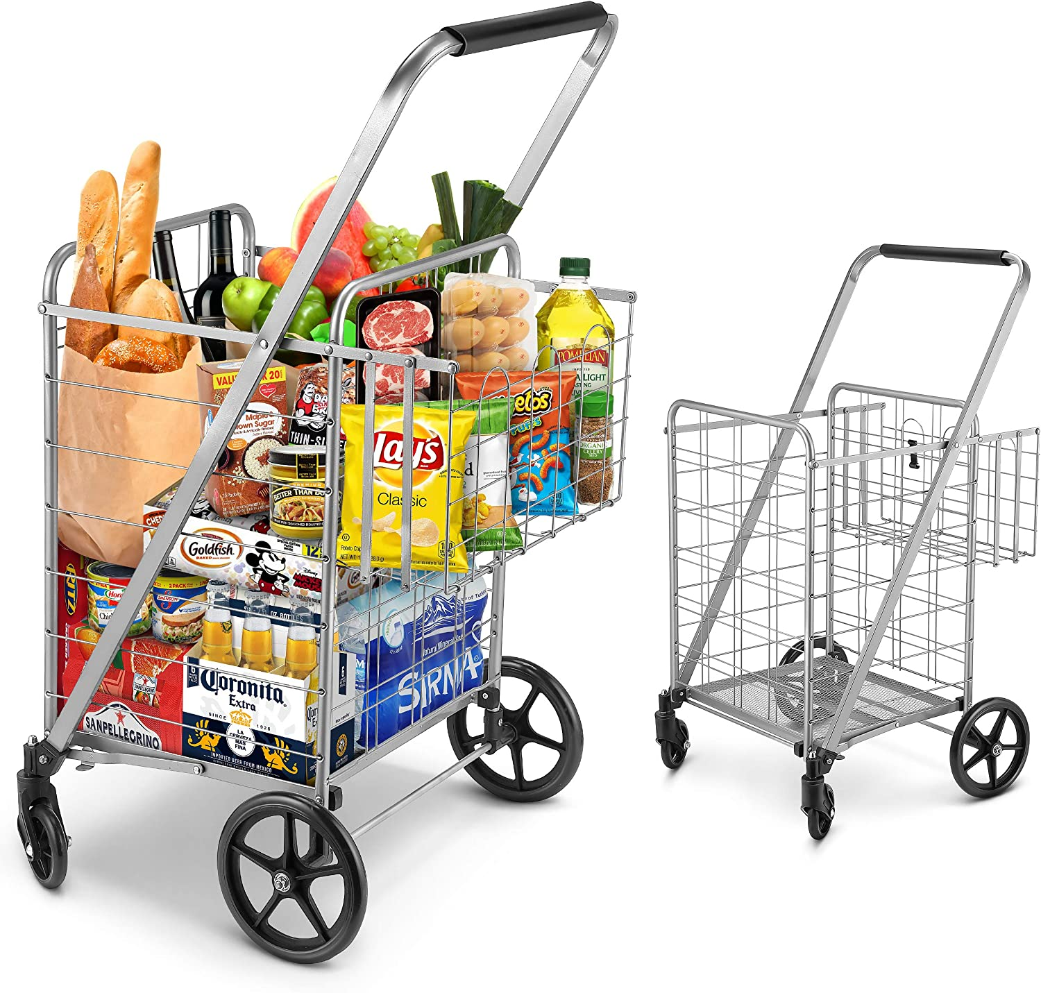 Shopping Cart Jumbo Double Basket Grocery Cart 330 Lbs Capacity Folding Shopping Cart With 360 Rolling Swivel Wheels Super Loading Utility Shopping Cart For Laundry Shopping Grocery Luggage Amazon Co Uk Office Products