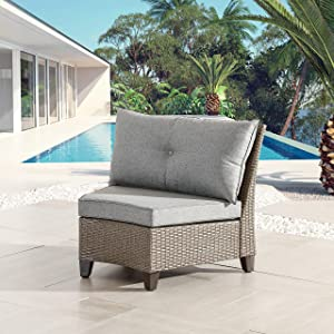 LOKATSE HOME Outdoor Wicker Half-Moon Sectional Chair Patio Armless Sofa with Thick Grey Cushions Infinitely Combination