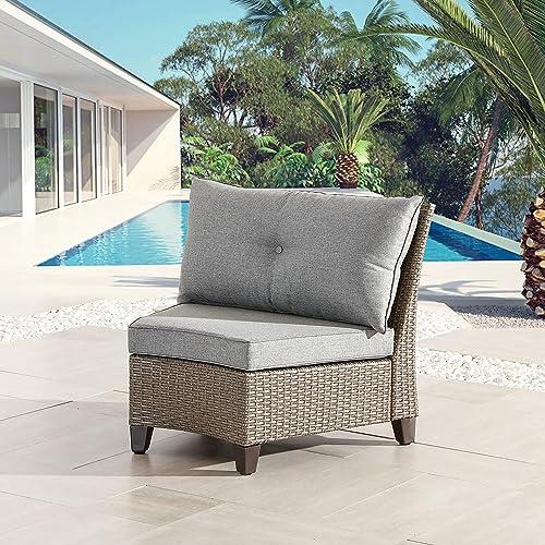 LOKATSE HOME Outdoor Wicker Half-Moon Sectional Chair Patio Armless Sofa
