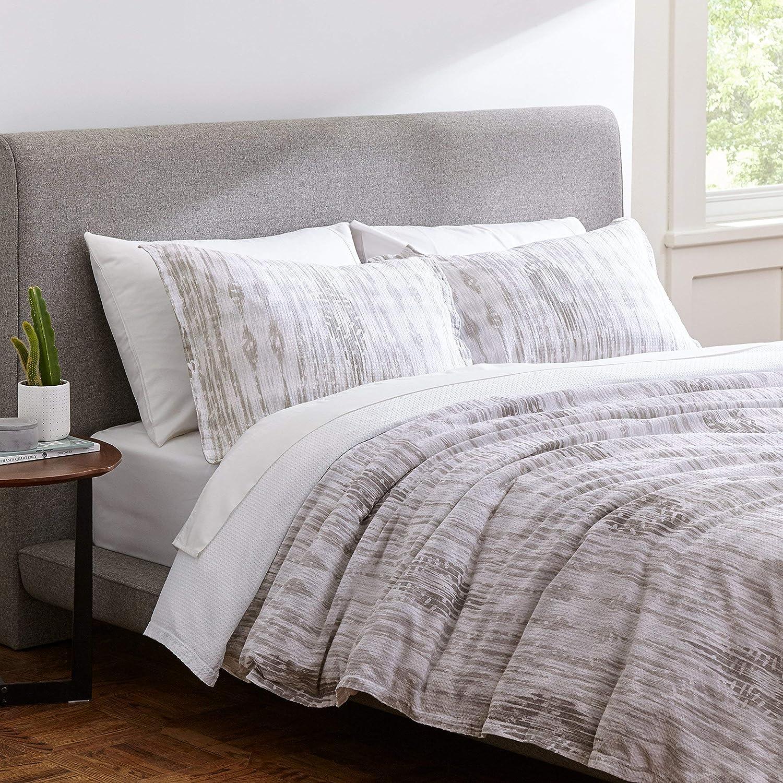 Rivet Modern Ikat Duvet Cover Bedding Set, 100% Cotton, Easy Care, King, Grey