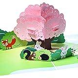 """Grußkarte """"Schöne Landschaft"""" 3D Pop up, mit Häschen, Igel, Eichhörnchen, Fuchs, Geburtskarte, Glückwunschkarte zur Geburt, handgefertigt, Grußkarte, Geburtstagskarte, Glückwunsch Karte, Grußkarten, Glückwunschkarten, Geburtskarten, Geschenkkarte, Karte zur Geburt, Kirigami Stil"""