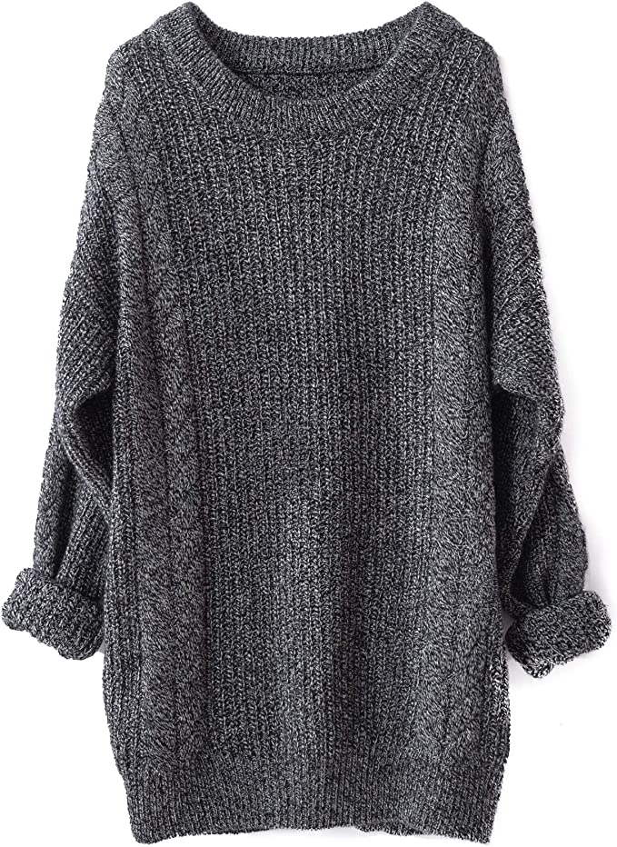 Cashmere Oversized Loose Knitted Crew Neck Long Sleeve Cute Sweater dresses for women