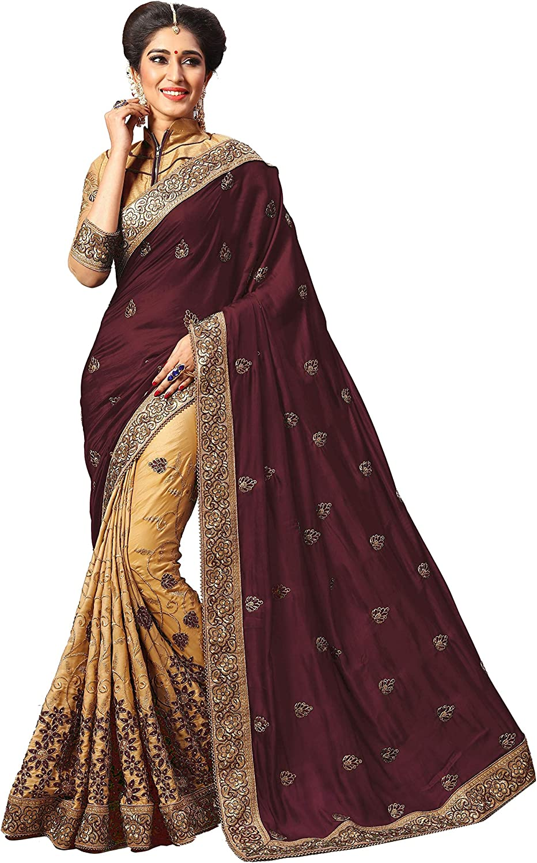 Nivah Fashion Damen Satin bestickt Sari mit Bluse K715