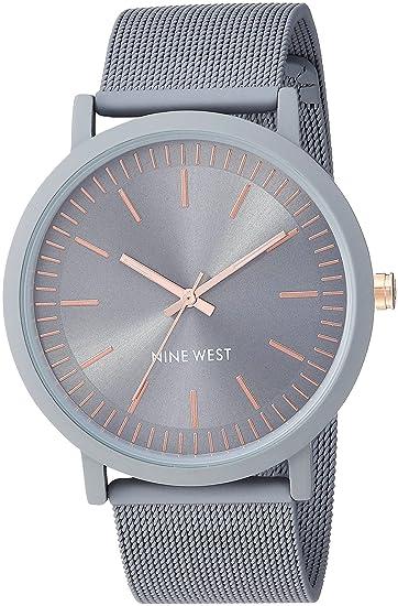 Nine West NW/2166GYGY - Reloj de Pulsera de Malla de Goma Gris para Mujer: Amazon.es: Relojes