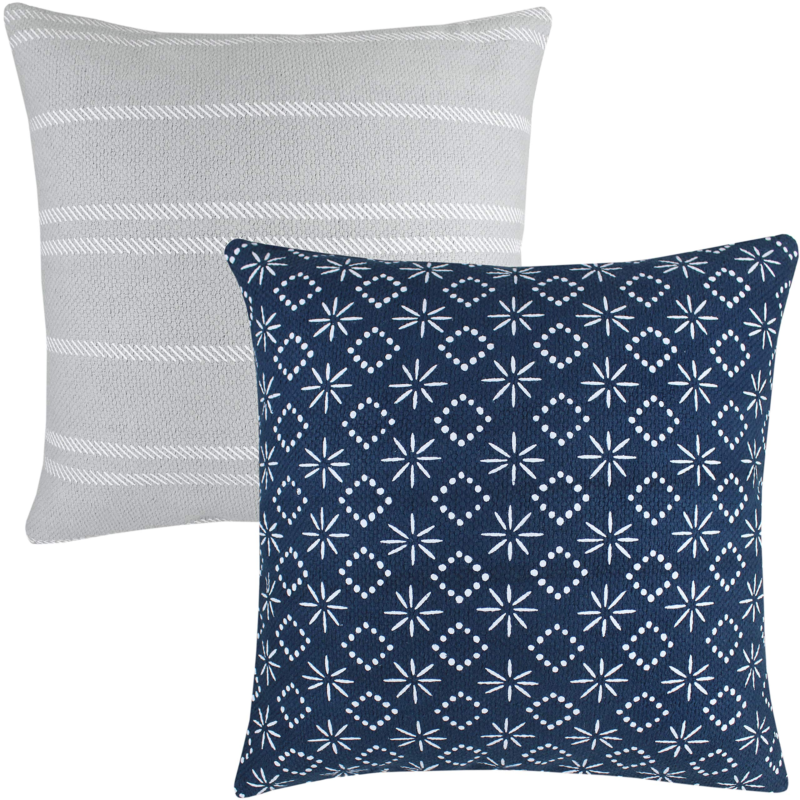 Woven Nook Decorative Throw Pillow Covers ONLY for Couch, Sofa, or Bed Set of 2 18 x 18 inch Modern Quality Design 100% Cotton Thick Woven Navy Grey Zuri by Woven Nook