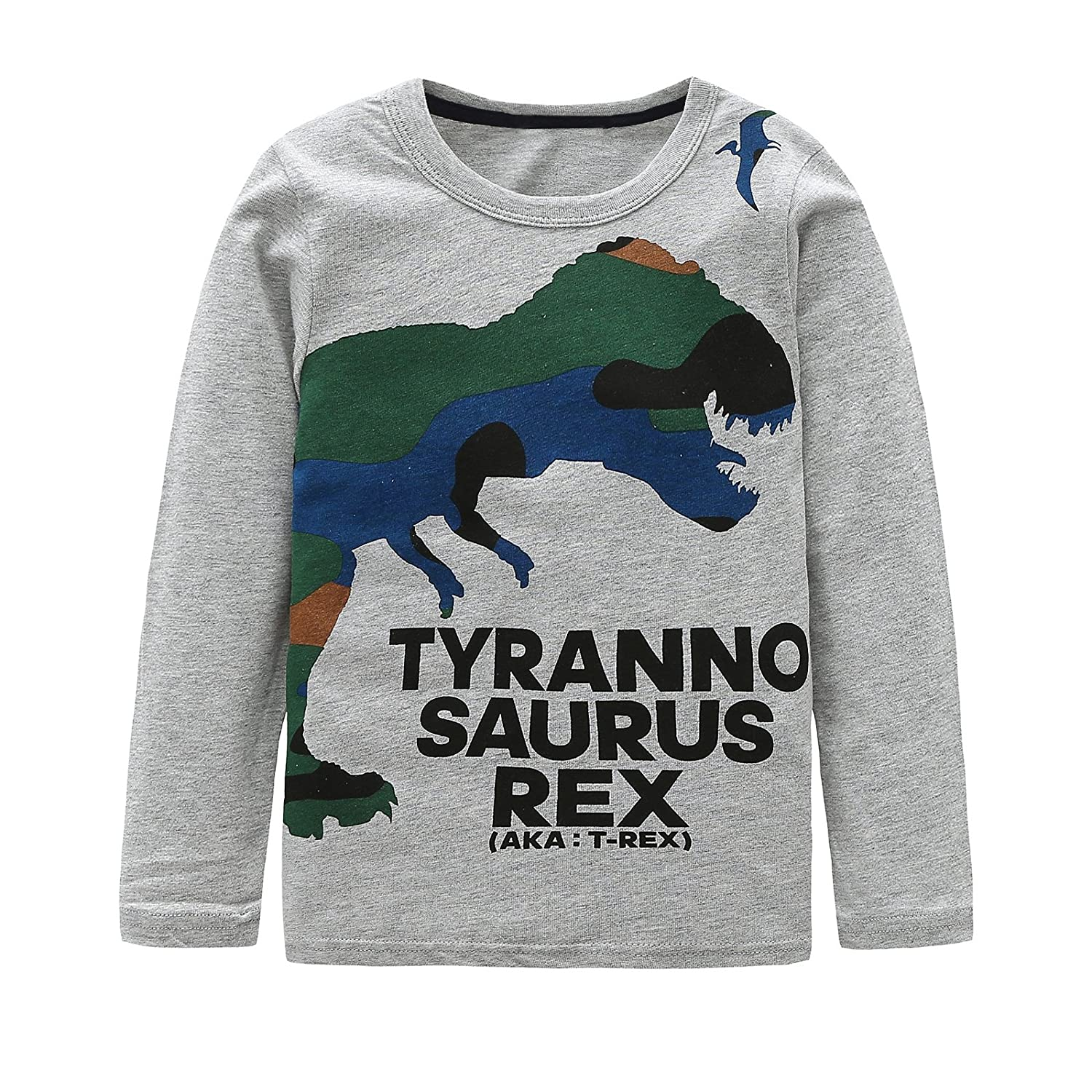 Boys Cotton Long Sleeve T-Shirts T Rex Dinosaur Shirt Graphic Tees