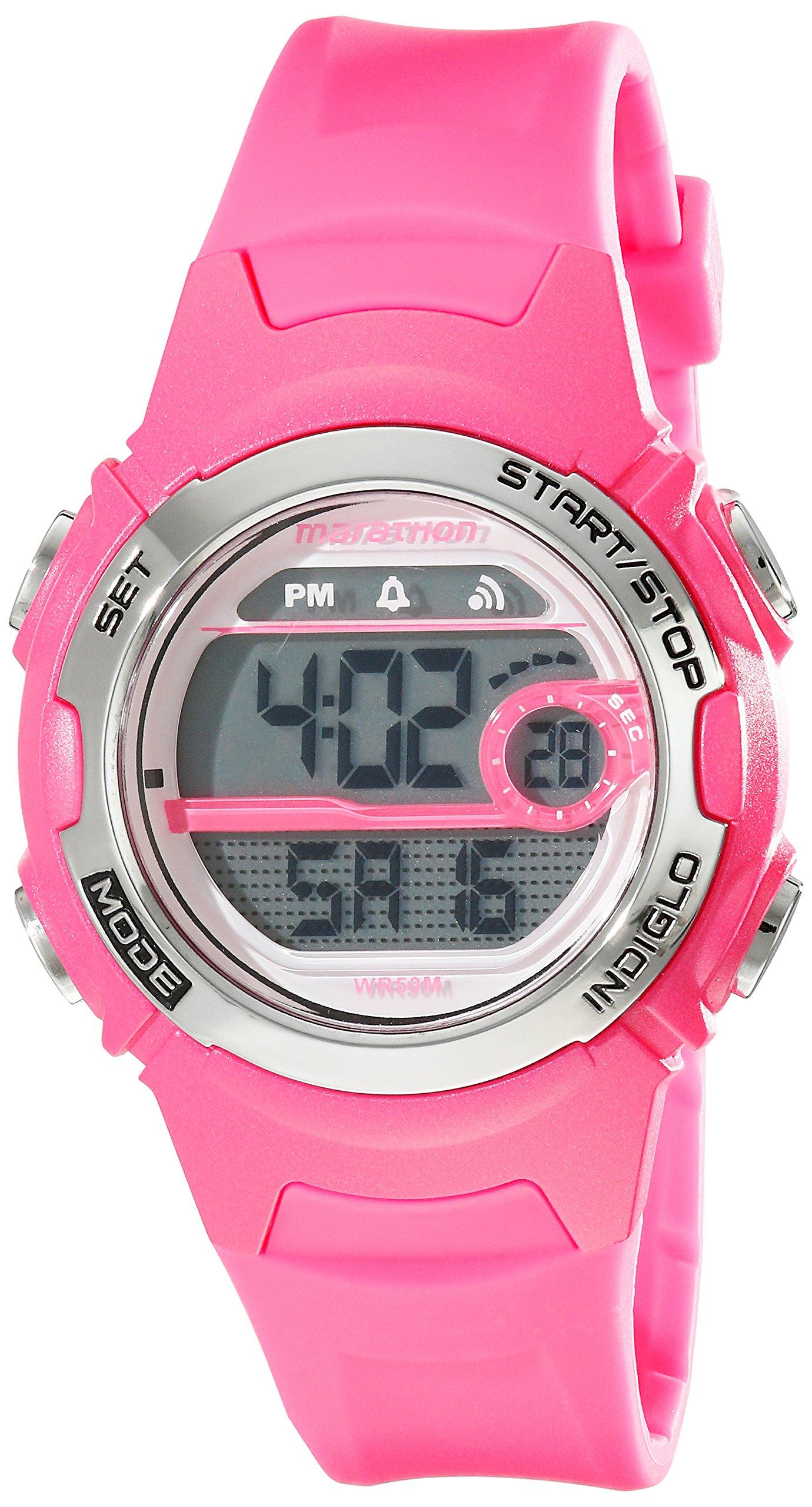 Marathon by Timex Women's T5K771 Digital Mid-Size Bright Pink Resin Strap Watch