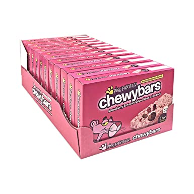 Pink Panther Chewy Bars Strawberry Marshmallow Flavour Rice Bars 5 Pack X 12 60 X 21g Bars