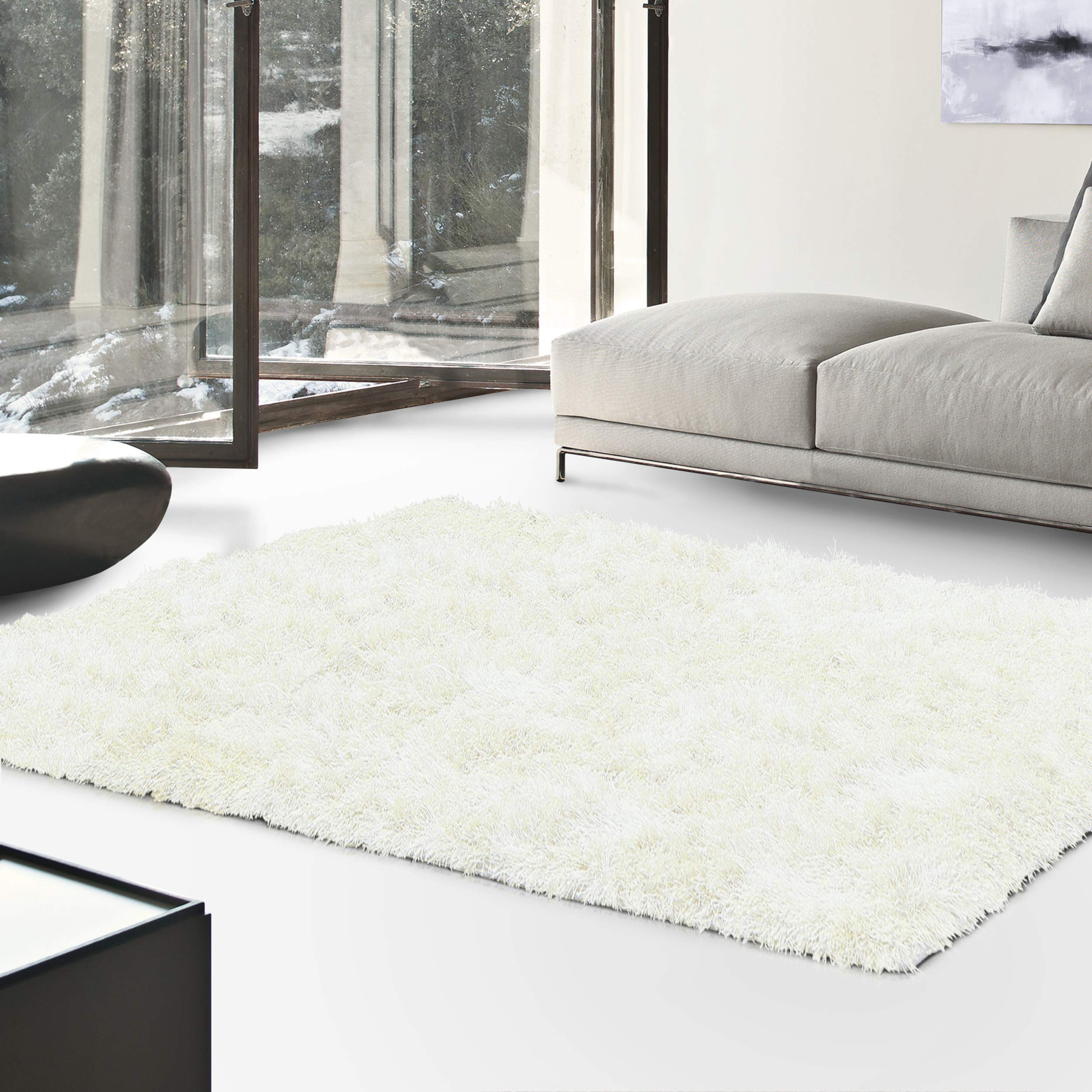 Superior Hand Tufted Thick, Plush, Cozy Quality Shag Textured Area Rugs, Ivory - 3' x 5'