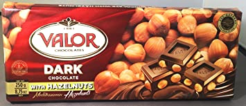 Valor Dark Chocolate Bar 52% Cacao with Whole Hazelnuts (8.75 oz/250 g