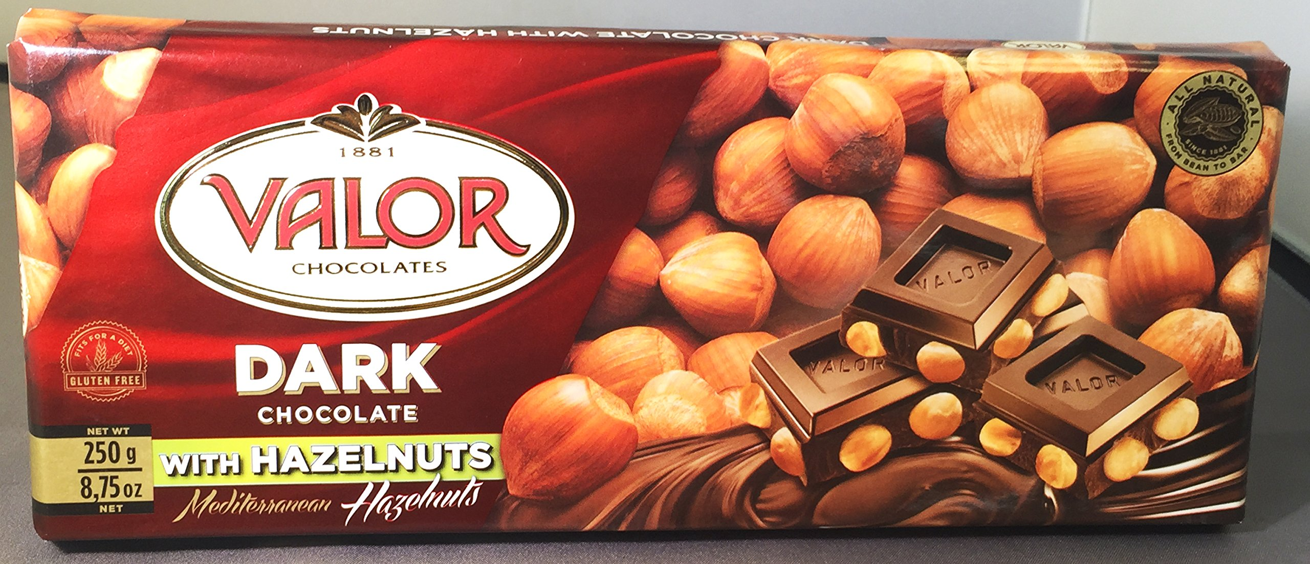 Amazon.com : Valor Dark Chocolate Bar 52% Cacao with Whole Hazelnuts (8.75 oz/250 g) : Candy And Chocolate Bars : Grocery & Gourmet Food