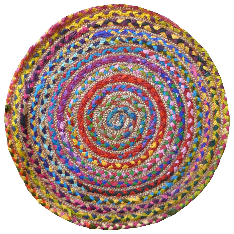Tapis Rond Multi Couleur pas cher Coton/Jute tressé Tapis de matériaux recyclés, Textile, Multicolore, 60cm