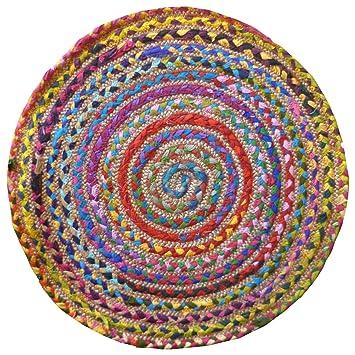 Alfombra redonda multicolor, algodón y yute cosido, con materiales reciclados, multicolor, 60cm Diameter: Amazon.es: Hogar