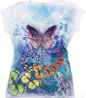 Sweet Gisele Colorful Butterfly Ladies V-Neck Graphic Tee Shirt w/Rhinestones