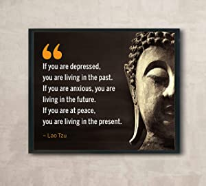 """Lao Tzu Quotes- """"If You Are at Peace-Living in the Present""""- Inspirational Wall Art- 10 x 8"""" Spiritual Poster Print with Buddha Image-Ready to Frame. Home-Office-Studio-Spa Decor. Perfect Zen Gift!"""