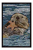 Sea Otter - Paper Mosaic (20x30 Premium 1000 Piece Jigsaw Puzzle, Made in USA!)