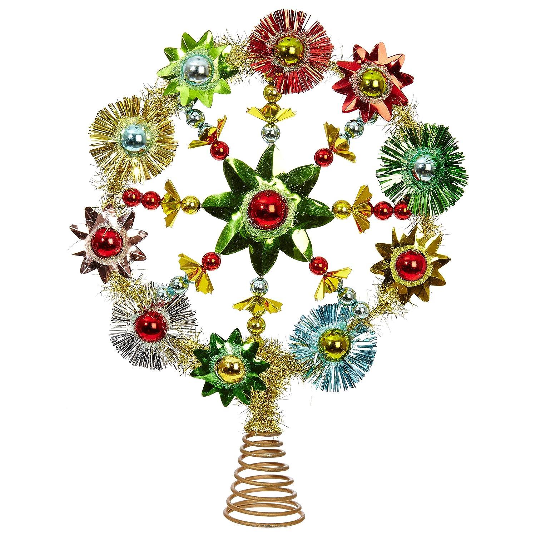 RAZ Imports Retro Multicolored Starburst 9.5 x 12.5 Inch Decorative Christmas Tree Topper