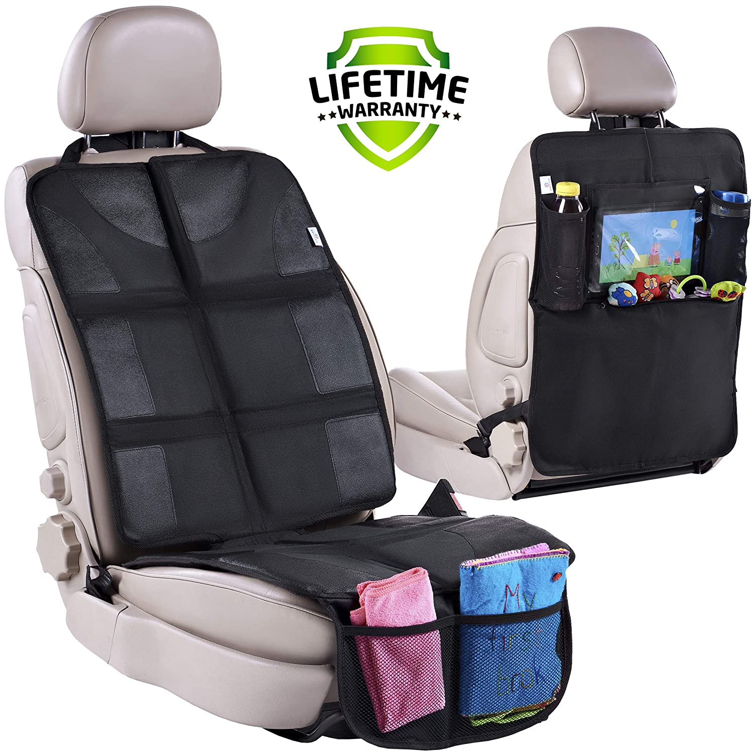 Car Seat Protector & Rear Seat Organizer for Kids - Waterproof & Stain Resistant Protective Backseat Kick Mat W/Storage Pockets & Tablet Holder - Baby Travel Kickmat & Front/Back Seat Cover Set Helteko
