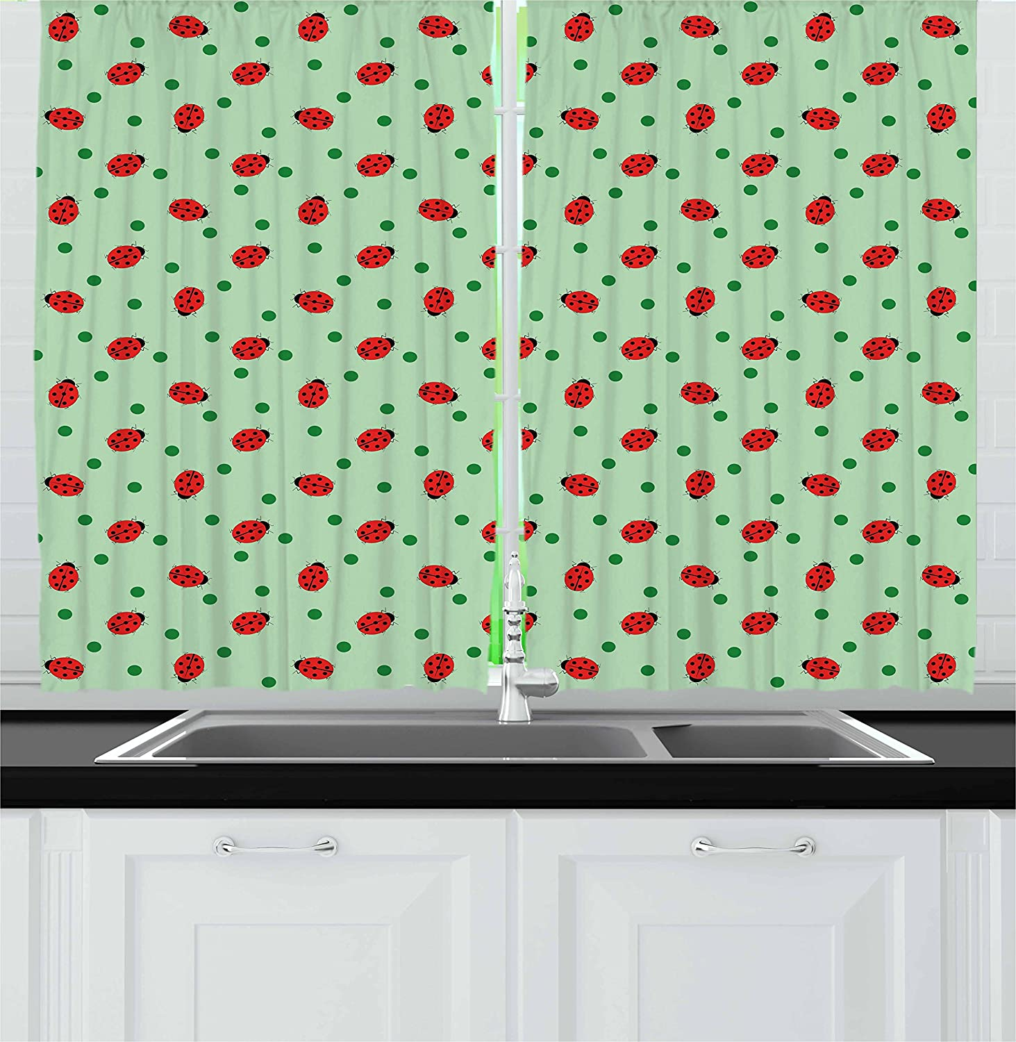 Amazon Com Ambesonne Ladybugs Kitchen Curtains Traditional Polka Dots Background Abstract Ladybug Insects Fun Design Window Drapes 2 Panel Set For Kitchen Cafe Decor 55 X 39 Green Red Black Home Kitchen