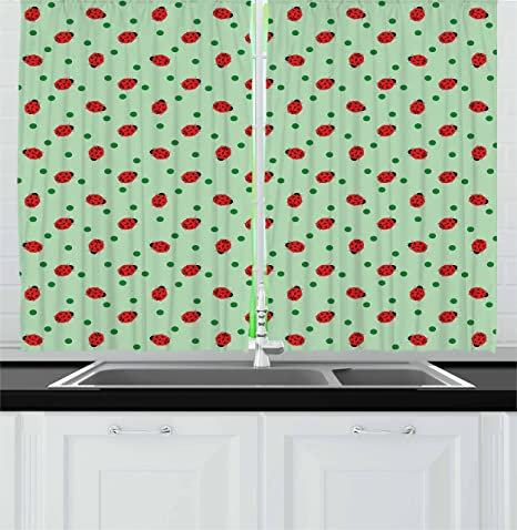Ambesonne Ladybugs Kitchen Curtains Traditional Polka Dots Background Abstract Ladybug Insects Fun Design Window Drapes 2 Panel Set For Kitchen Cafe Decor 55 X 39 Green Red Black Home Kitchen
