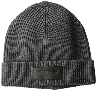 520585bf0fd Amazon.com  True Religion Men s Ribbed Knit Watchcap with Patch ...