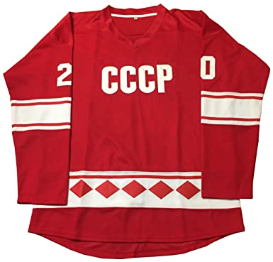 Kooy Vladislav Tretiak  20 CCCP 1980 USSR CCCP Russian Hockey Jersey Russia  (M) a104fdebc