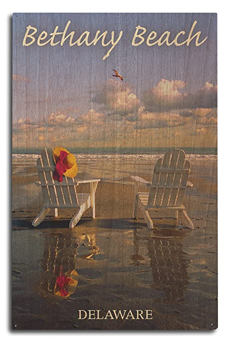 Bethany Beach, Delaware   Adirondack Chairs On Beach (10x15 Wood Wall Sign,  Wall