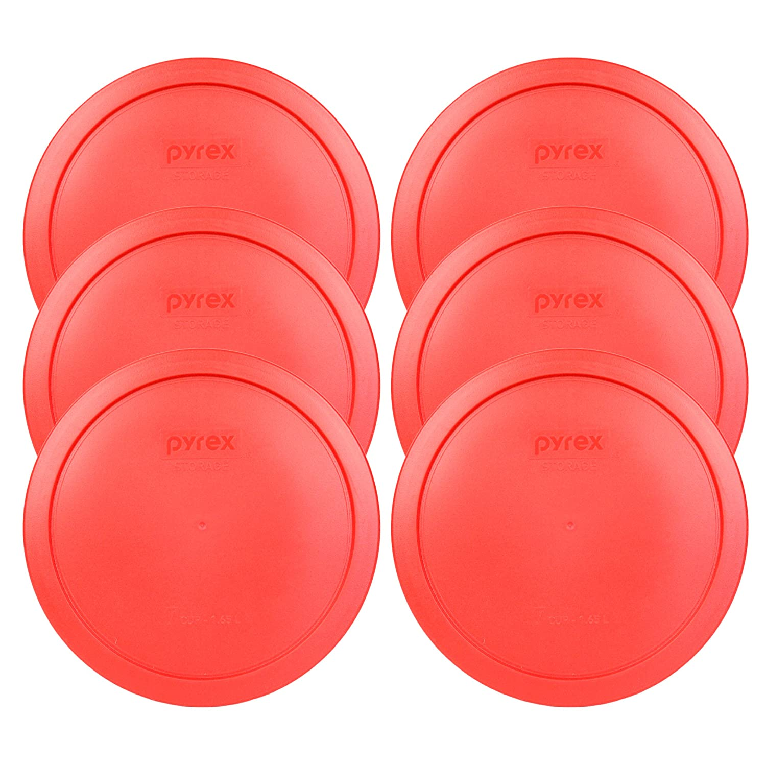 Round 4-Pack Pyrex 7402-PC Red Round Storage Replacement Lid Cover fits 6 /& 7 Cup 7 Dia