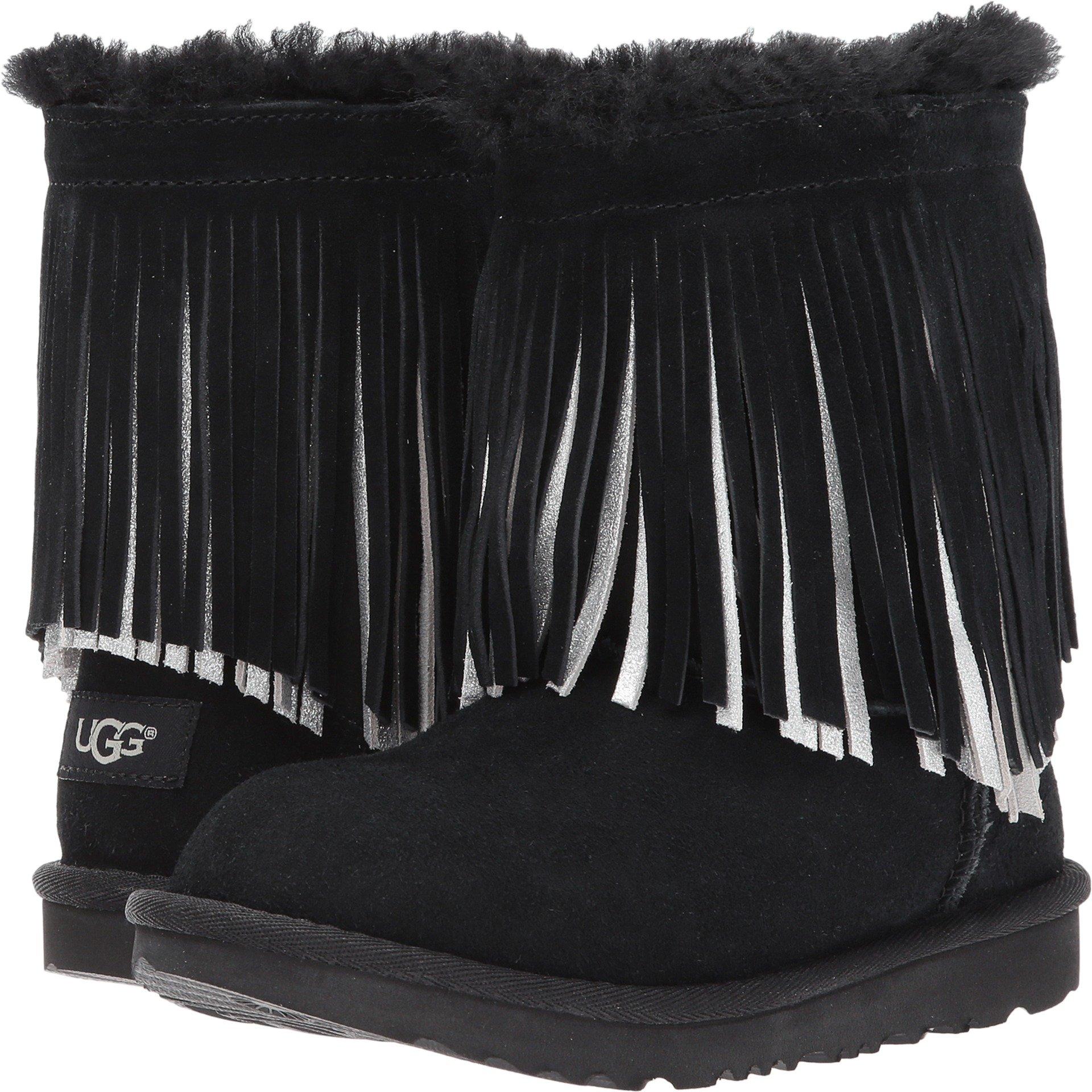 UGG Big Kids Classic Short II Fringe Boot Black Size 6 M US Big Kid
